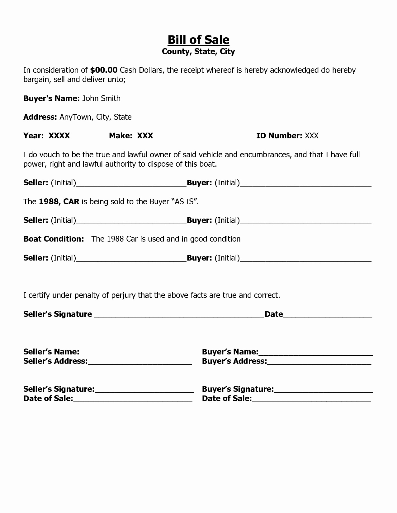Bill Of Sale Car Template Lovely Free Printable Free Car Bill Of Sale Template form Generic