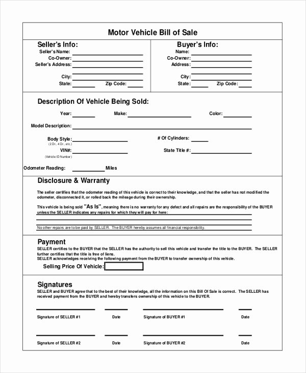 Bill Of Sale Car Template Lovely Vehicle Bill Of Sale Template 14 Free Word Pdf