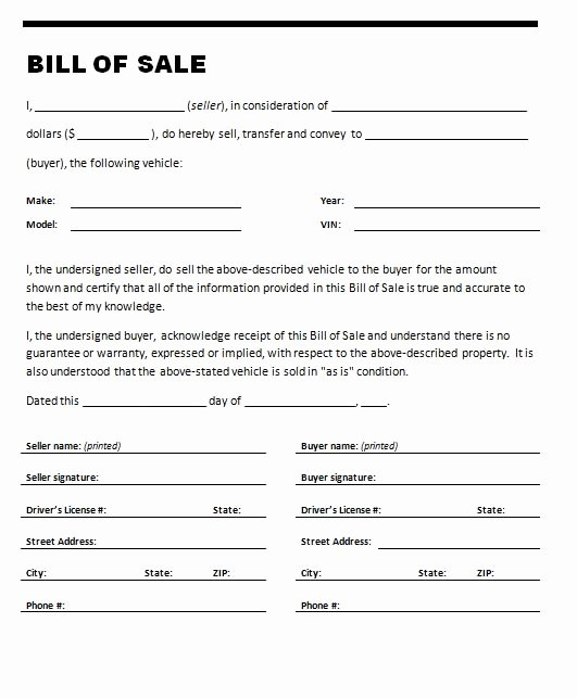 Bill Of Sale Car Template Luxury Free Printable Car Bill Of Sale form Generic