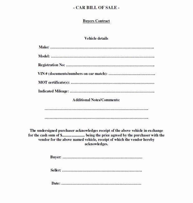 Bill Of Sale Car Template Luxury Free Printable Free Car Bill Of Sale Template form Generic