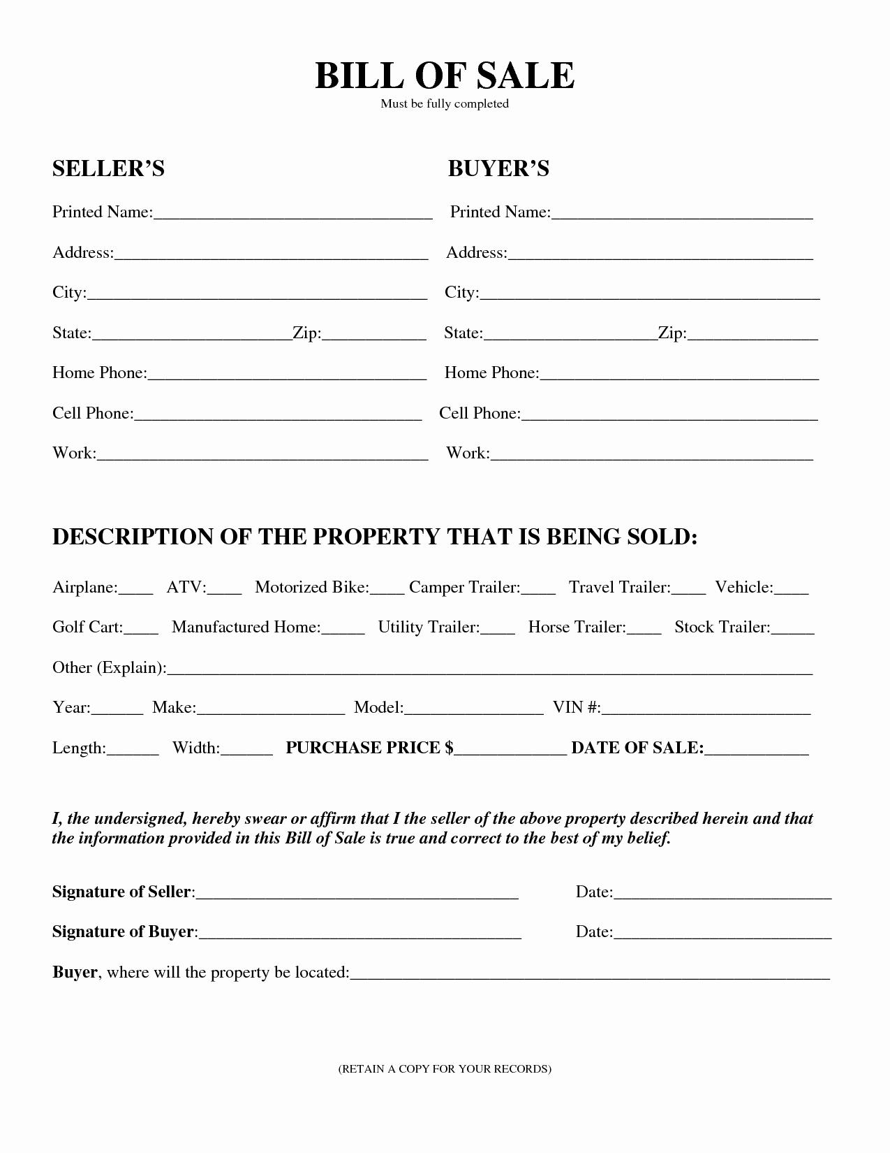 Bill Of Sale Car Template New Download Bill Sale forms Pdf Templates
