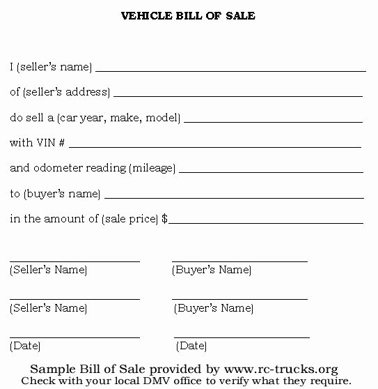 Bill Of Sale Car Template New Printable Sample Vehicle Bill Of Sale Template form