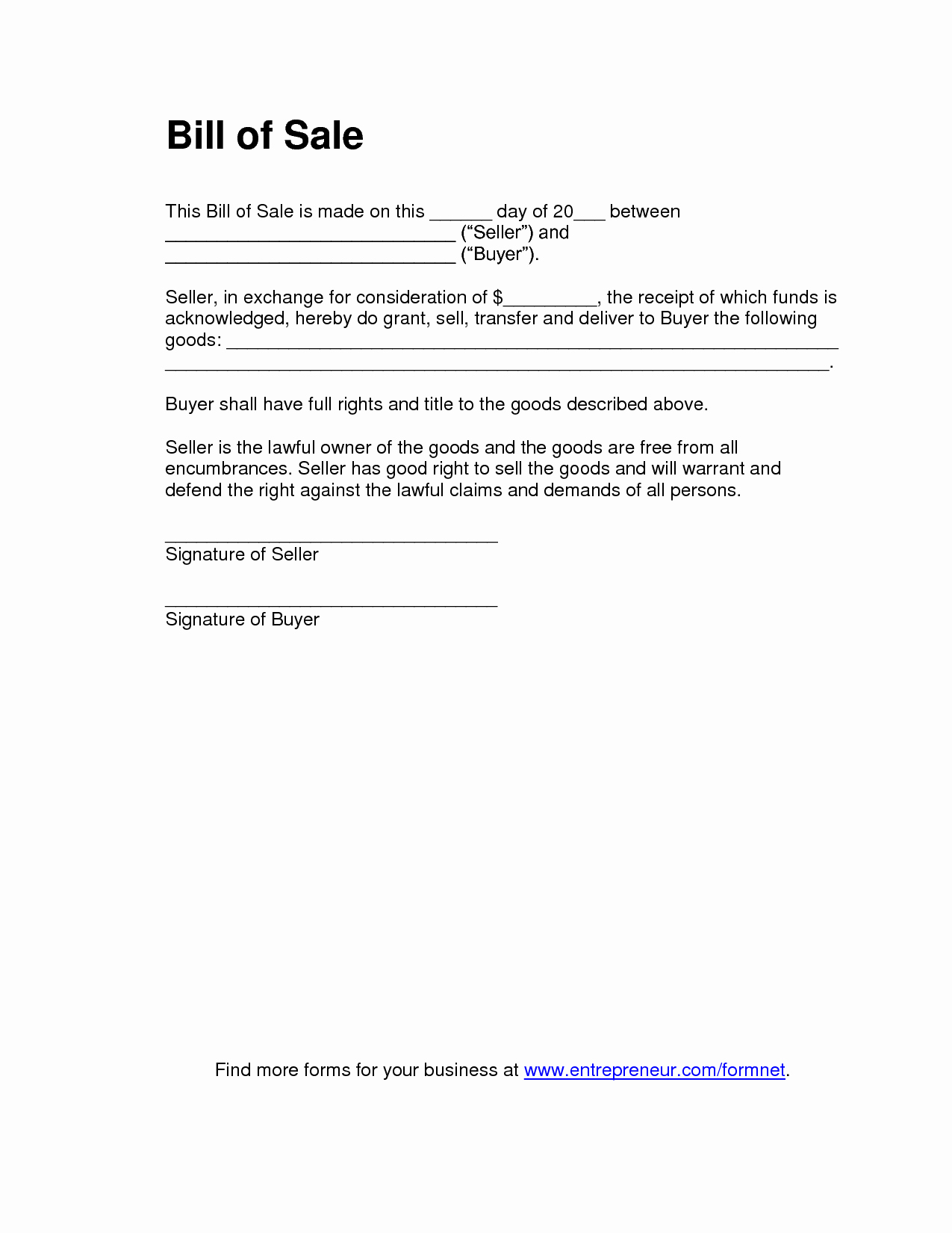 Bill Of Sale Free Best Of Free Printable Tractor Bill Of Sale form Generic
