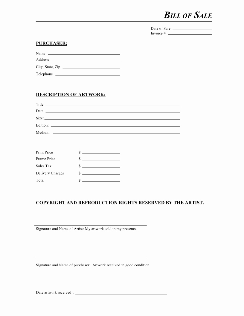 Bill Of Sale Free Elegant Free Artwork Bill Of Sale form Pdf