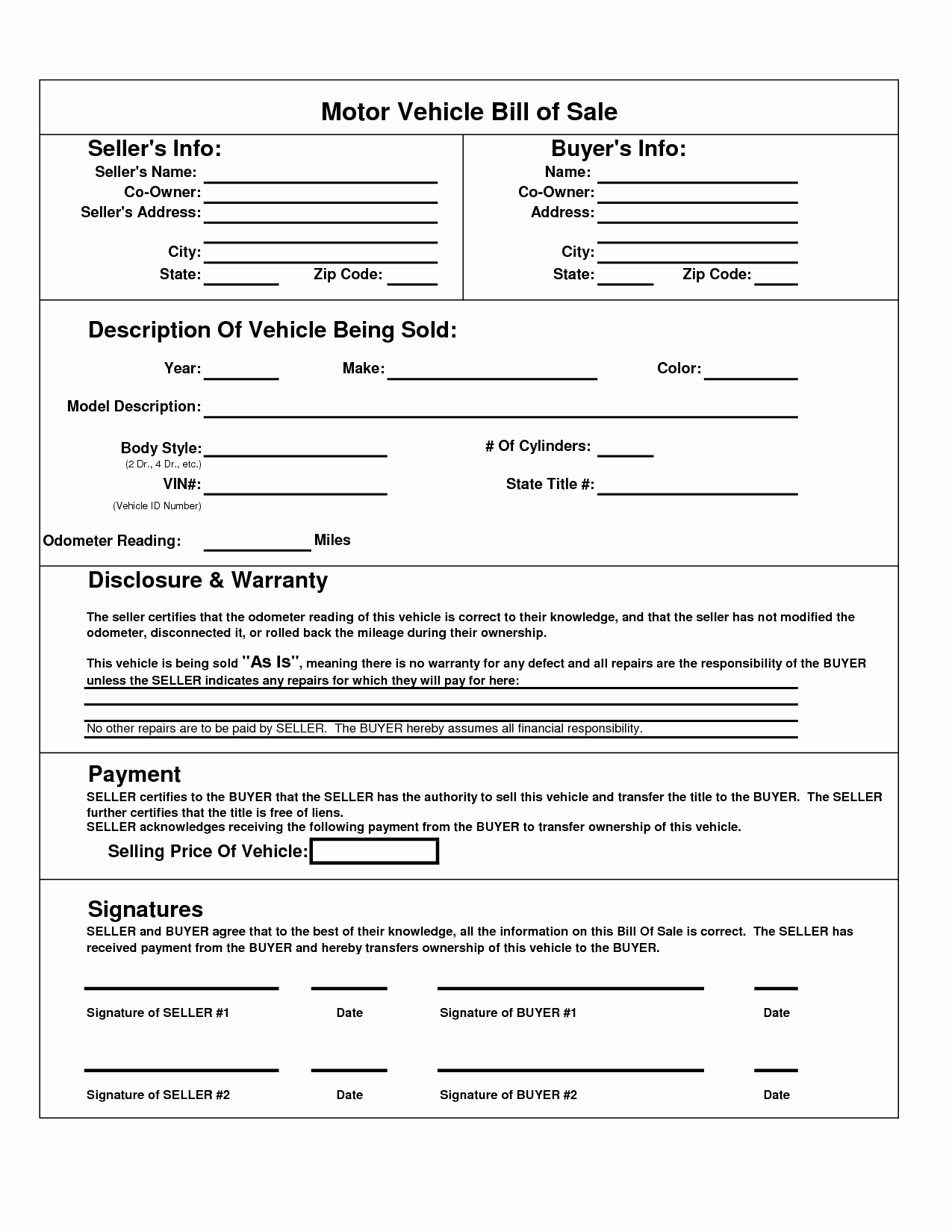 Bill Of Sale Free Fresh Printable Car Bill Of Sale Pdf
