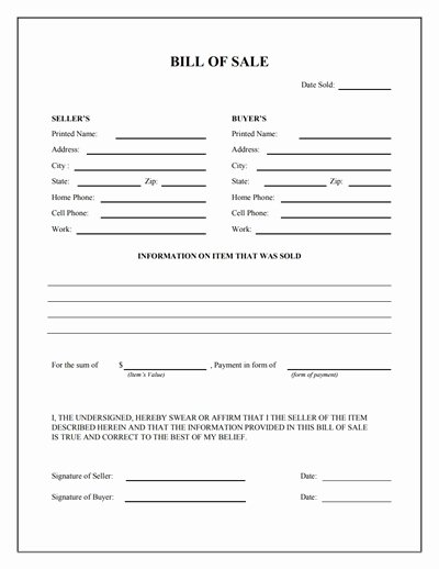 Bill Of Sale Free Inspirational General Bill Of Sale form Free Download Create Edit