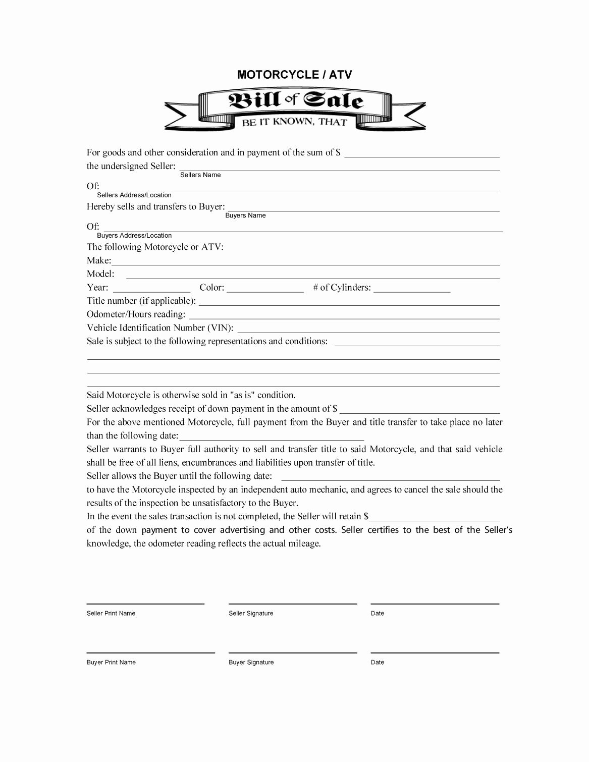 Bill Of Sale Free Unique 45 Fee Printable Bill Of Sale Templates Car Boat Gun