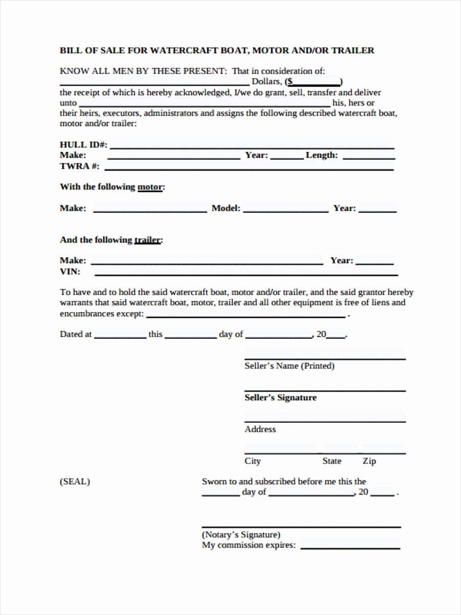 Bill Of Sale Trailer Best Of Free 29 Sample Bill Of Sale forms