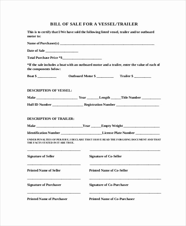 Bill Of Sale Trailer Fresh Sample Blank Bill Of Sale 9 Examples In Pdf Word