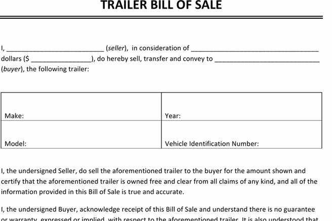 Bill Of Sale Trailer Inspirational Bill Of Sale form