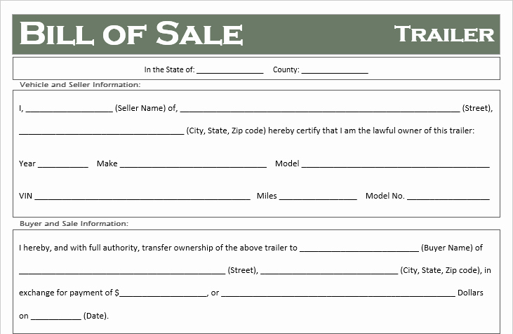 Bill Of Sale Trailer Inspirational Free Printable Trailer Bill Of Sale All States F