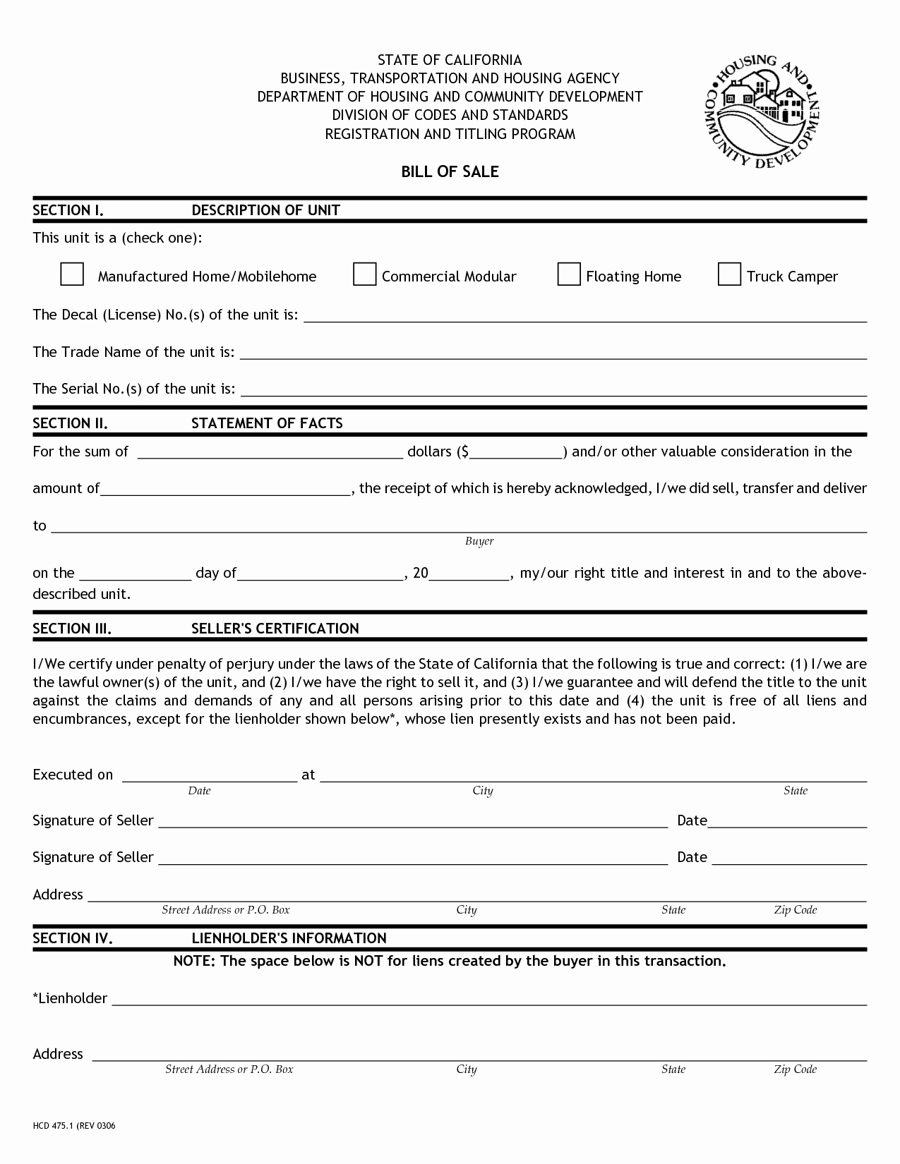 Bill Of Sale Trailer New Free Printable Bill Of Sale for Rv form Generic