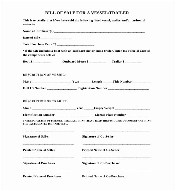 Bill Of Sale Trailer Unique Free 15 Sample Boat Bill Of Sale forms In Pdf