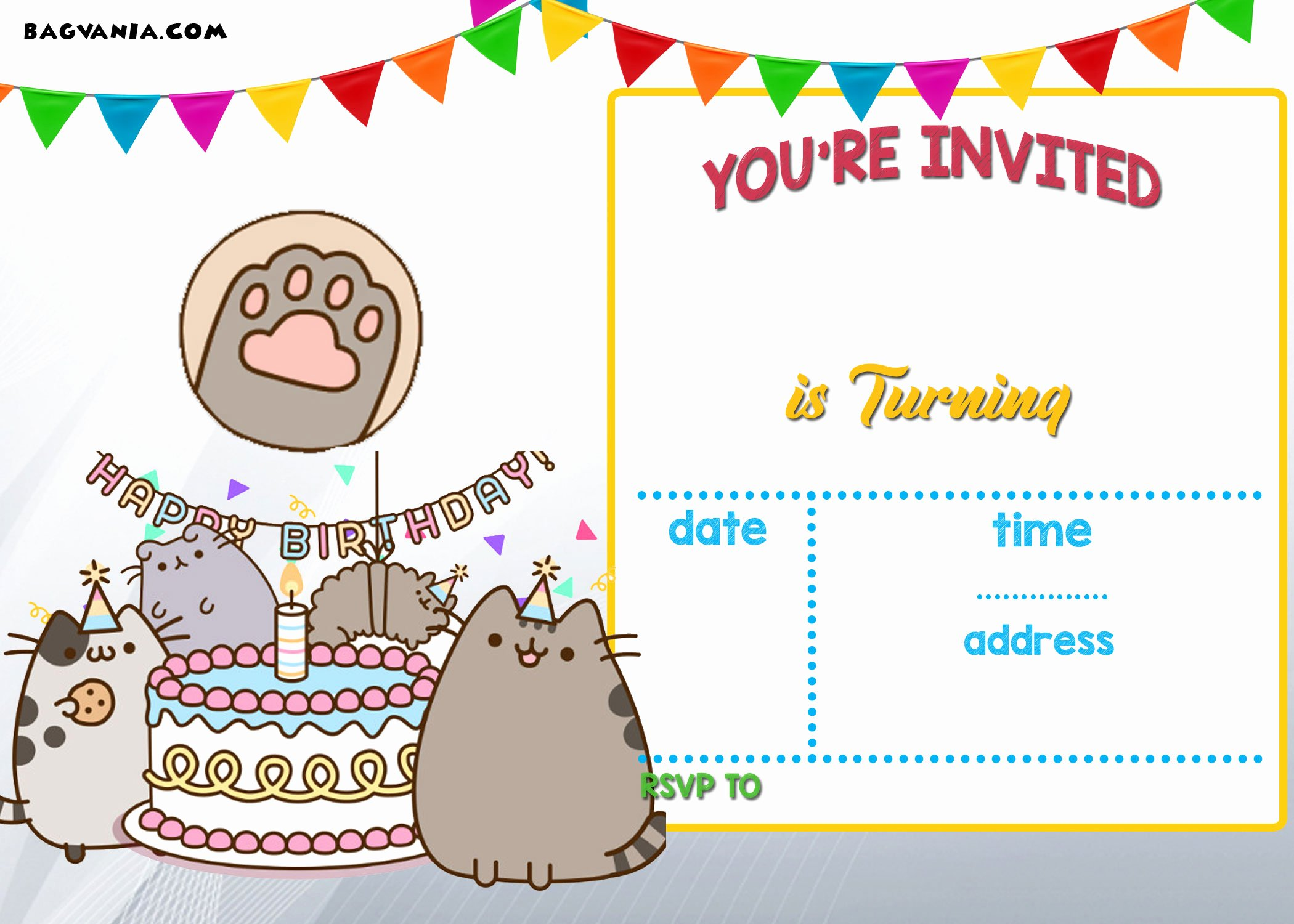 Birthday Card Template Free Best Of Free Printable Pusheen Birthday Invitation Template
