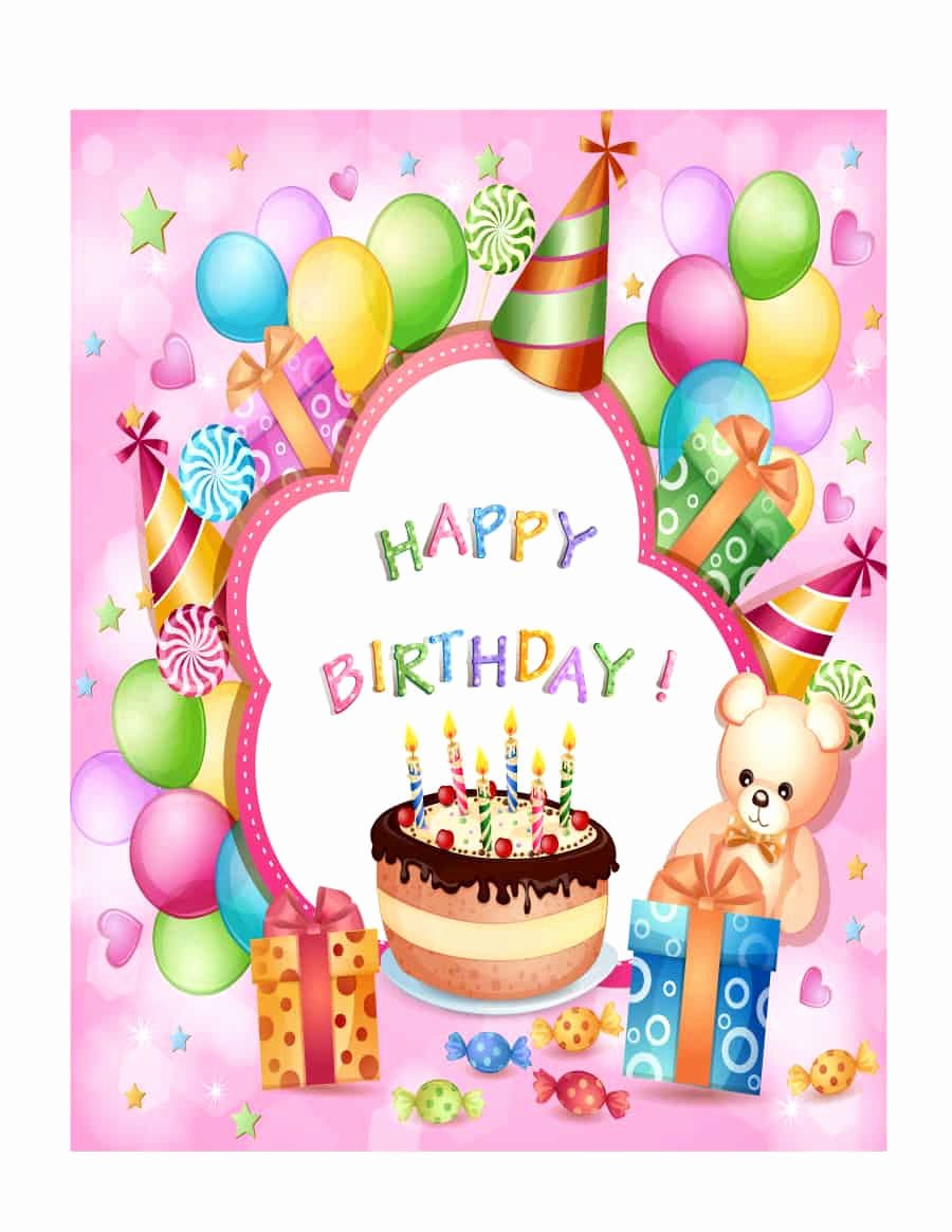 Birthday Card Template Free Inspirational 41 Free Birthday Card Templates In Word Excel Pdf