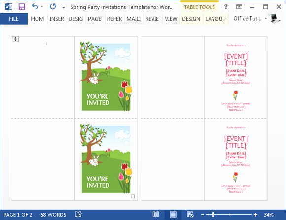 Birthday Invitation Templates Word Awesome Spring Party Invitation Template for Word