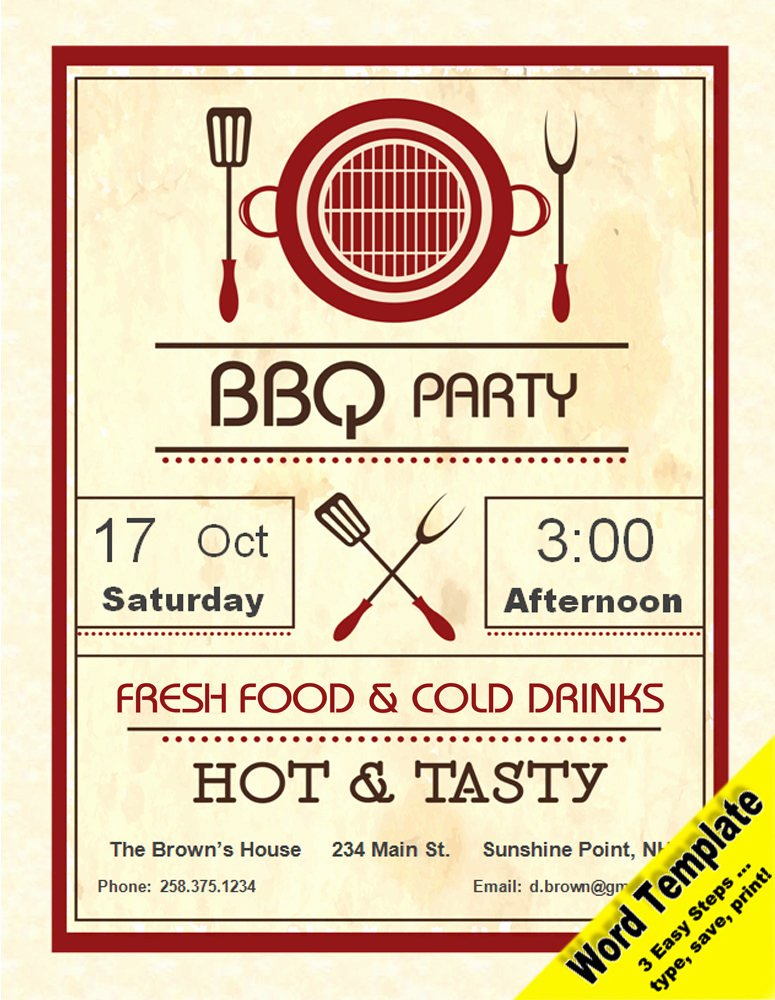 Birthday Invitation Templates Word Beautiful Barbecue Party Invitation Editable Word Template Printable