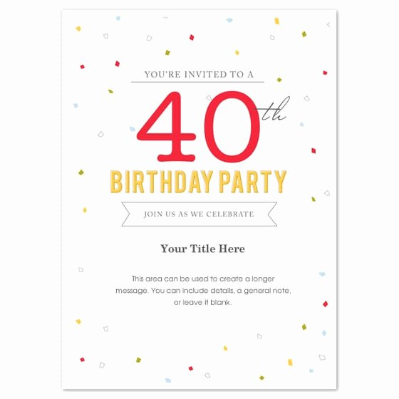 Birthday Invitation Templates Word Inspirational 40th Birthday Invitation Template Word