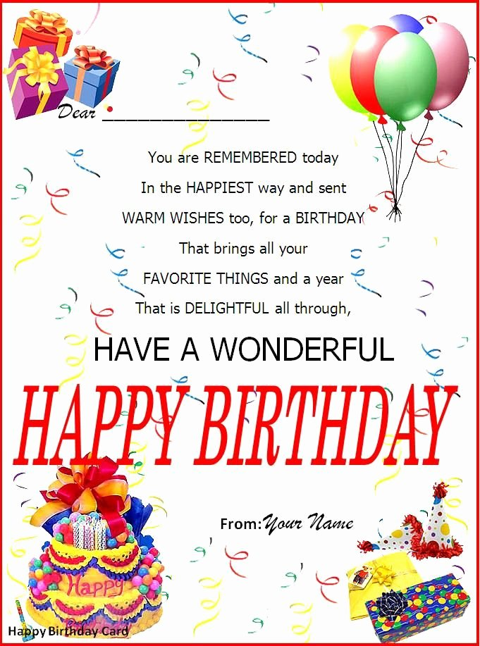 Birthday Invitation Templates Word Lovely Birthday Card Word Template