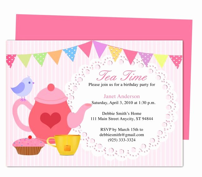 Birthday Invitation Templates Word New afternoon Tea Party Invitation Party Templates Printable