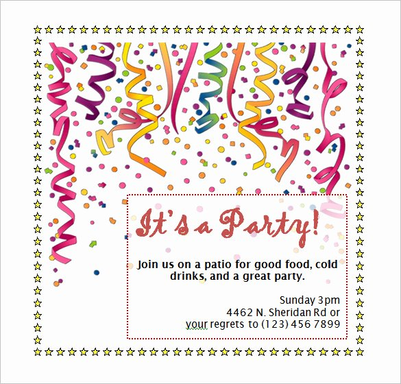 Birthday Invitation Templates Word New Birthday Party Invitation Template Word Free