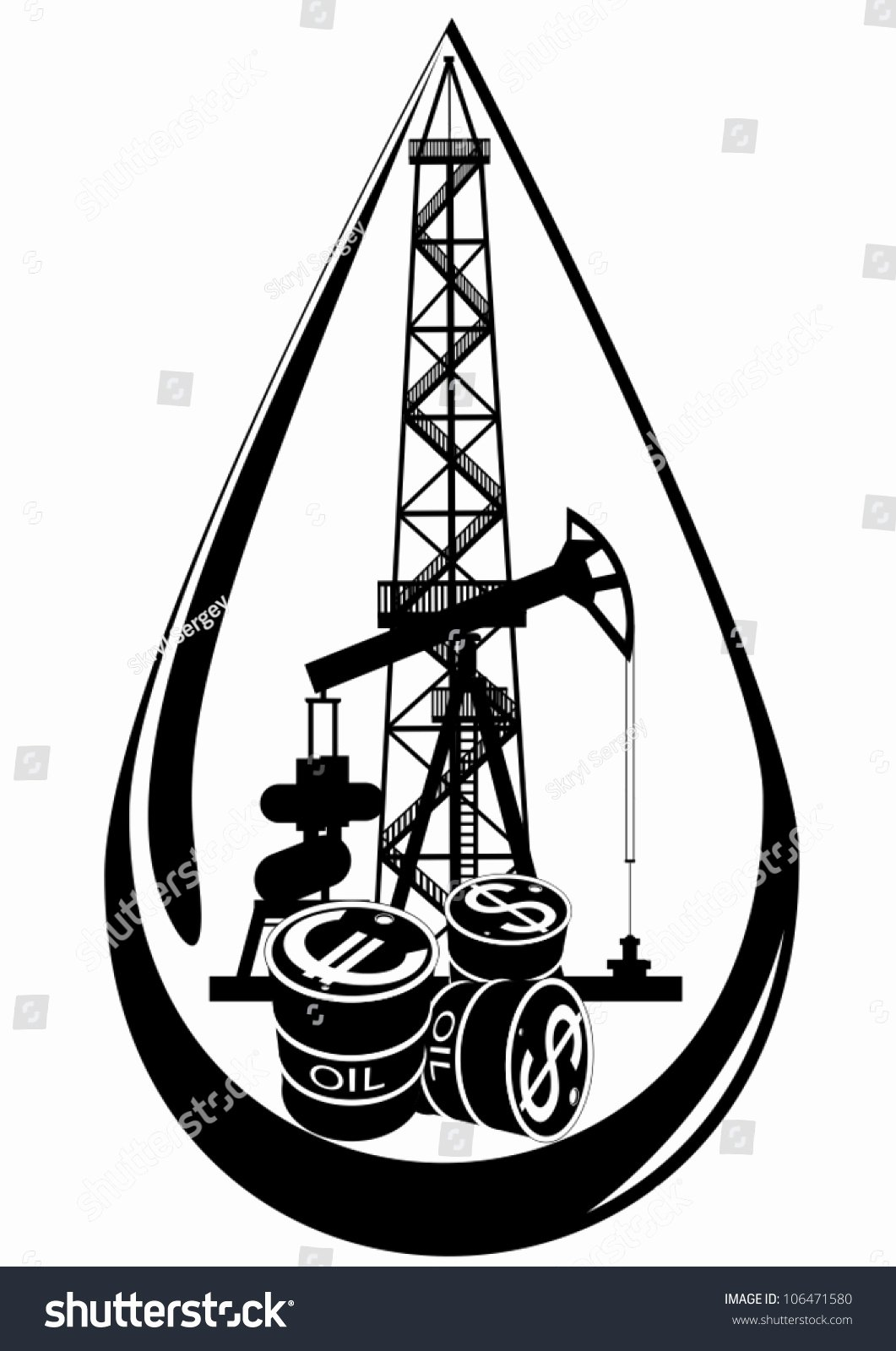 Black and White Illustration Awesome Oil Gas Industry Black White Illustration Stock Vector