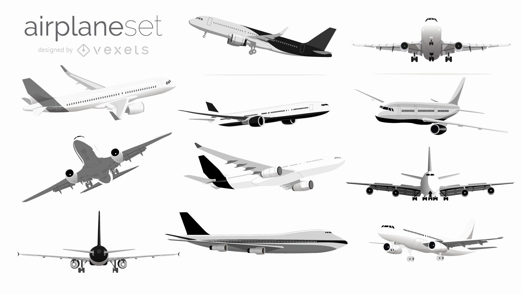 Black and White Illustration Best Of Black and White Airplane Illustration Set Vector