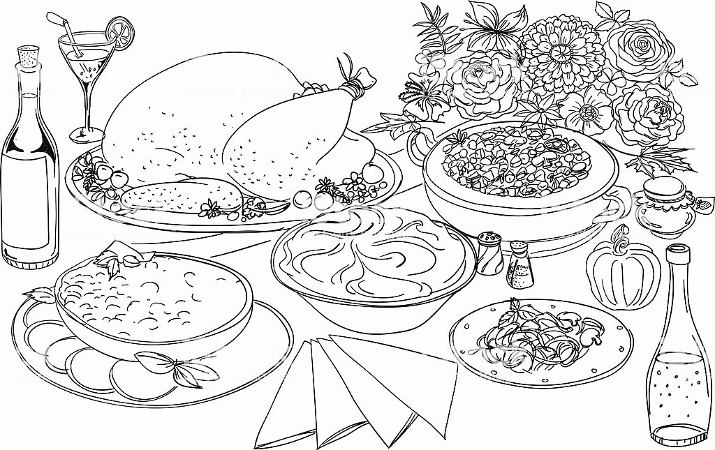 Black and White Illustration Elegant Feast Illustration In Black and White Stock Illustration