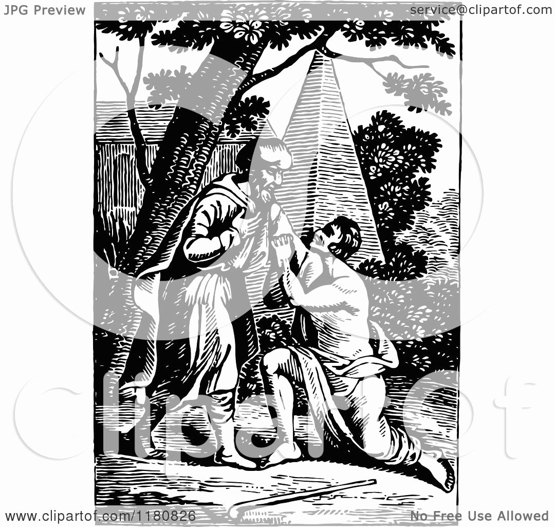 Black and White Illustration Luxury Clipart Of Retro Vintage Black and White Prodigal son