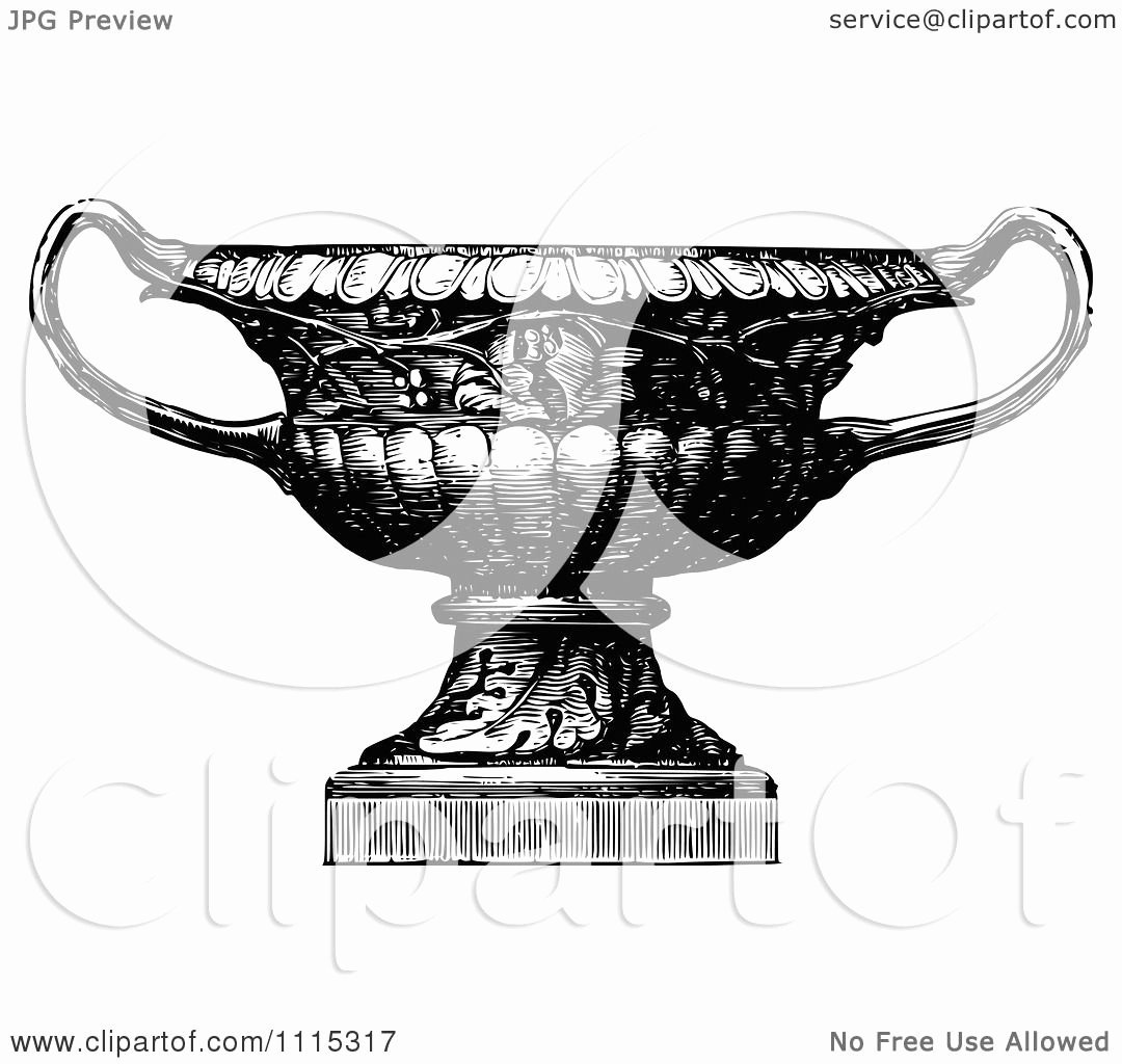 Black and White Illustration Luxury Clipart Vintage Black and White Garden Urn 3 Royalty