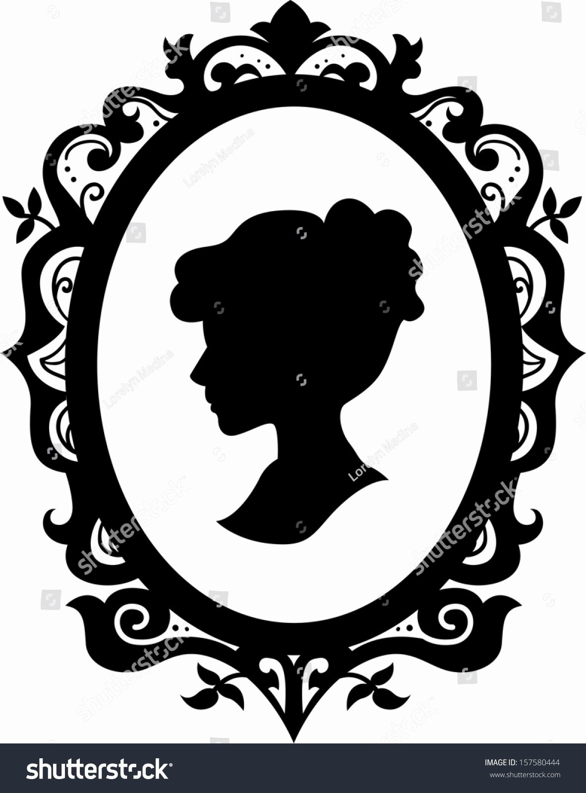 Black and White Illustration New Black White Illustration Cameo Featuring Silhouette Stock