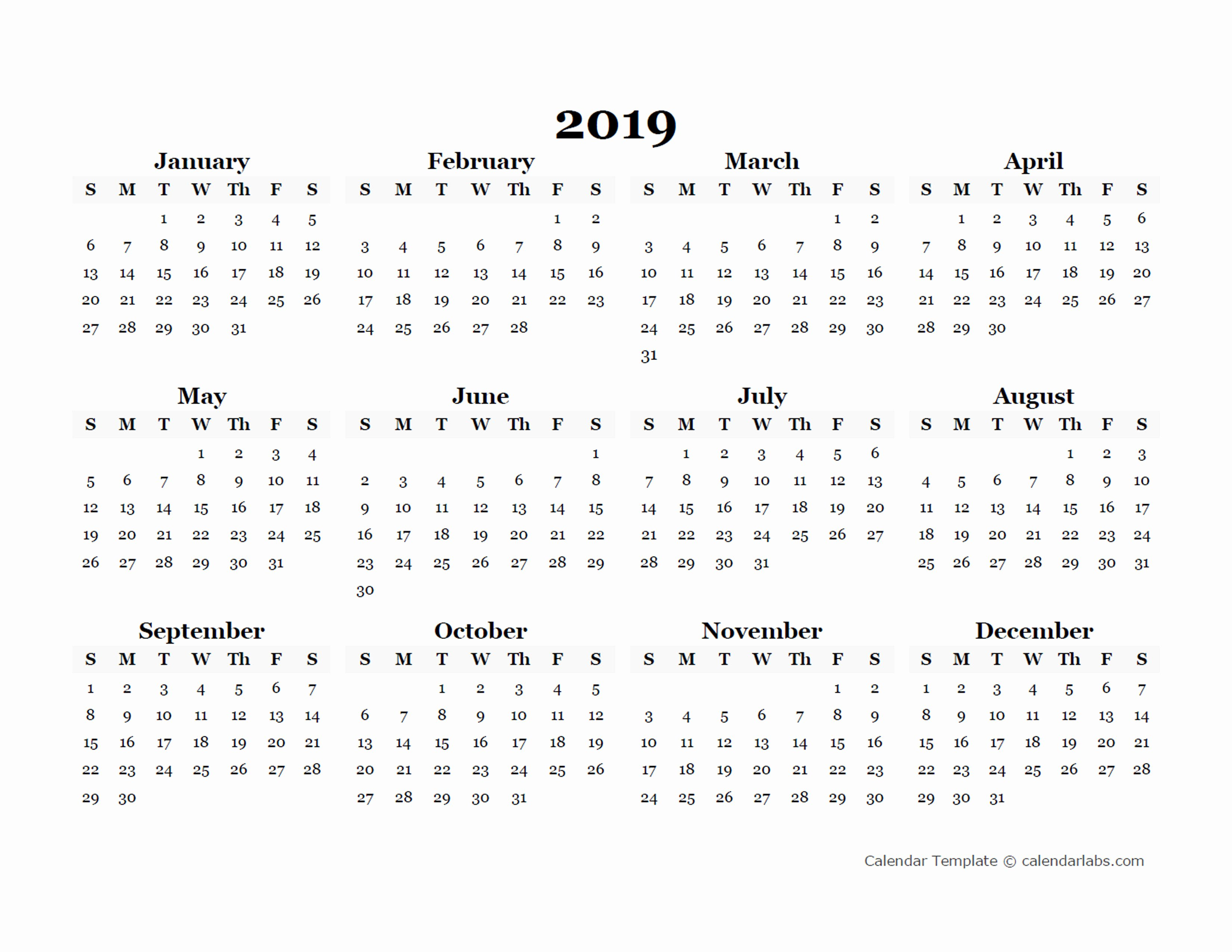 Blank Calendar Template 2019 Awesome 2019 Yearly Blank Calendar Template Free Printable Templates