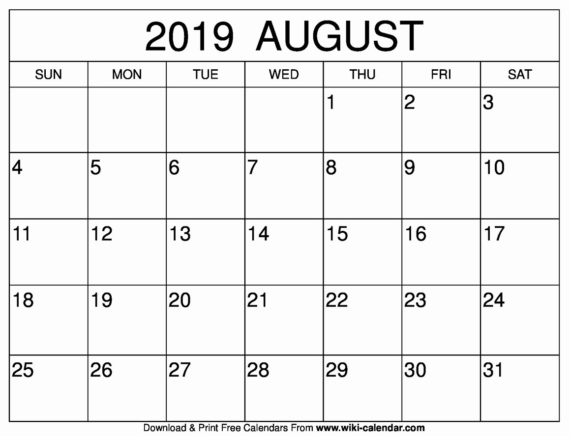 Blank Calendar Template 2019 Awesome Free Printable August 2019 Calendar