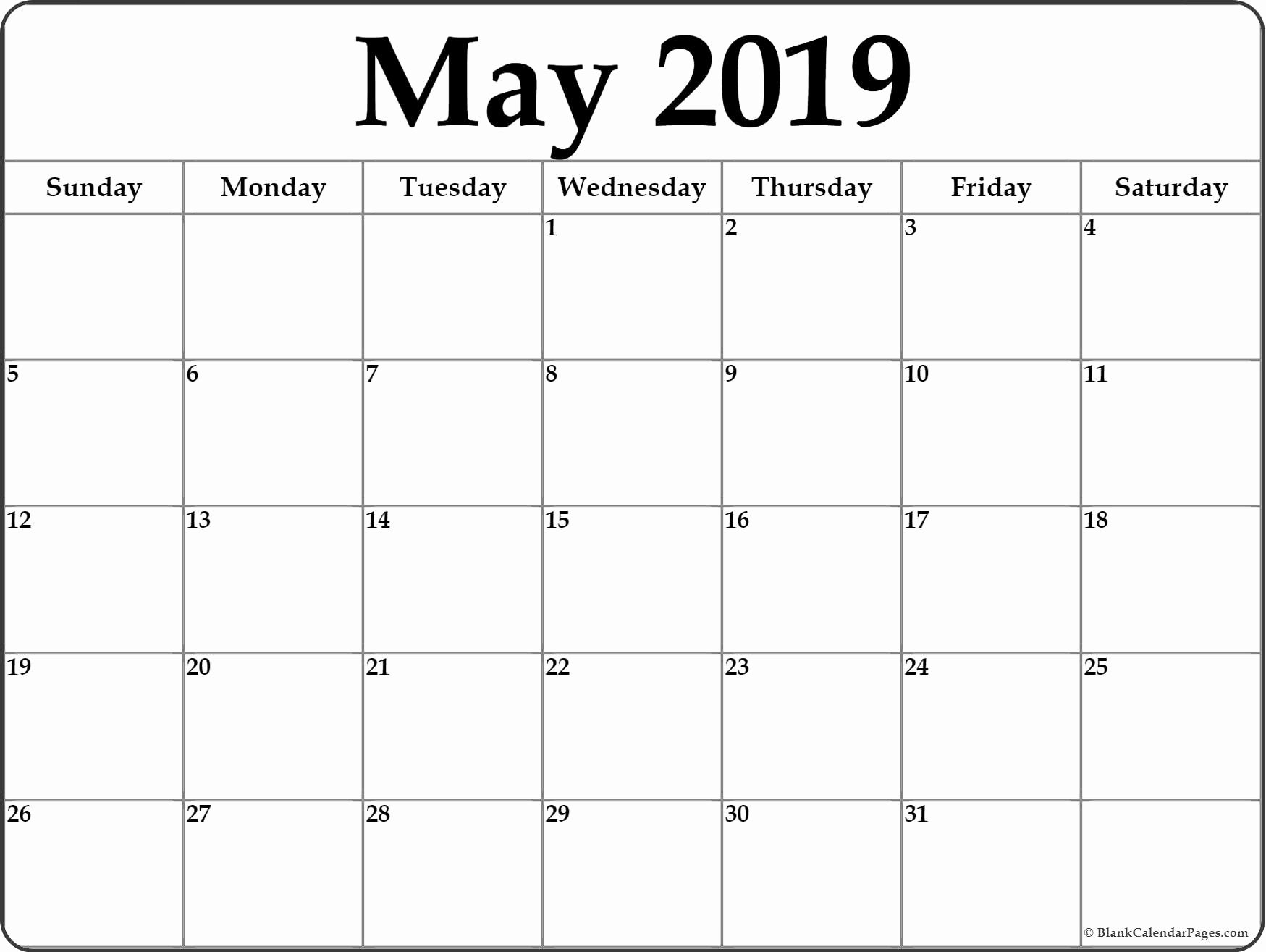 Blank Calendar Template 2019 Awesome May 2019 Blank Calendar Templates
