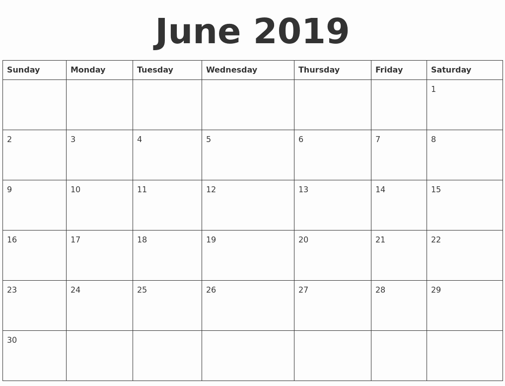 Blank Calendar Template 2019 Unique June 2019 Blank Calendar Template