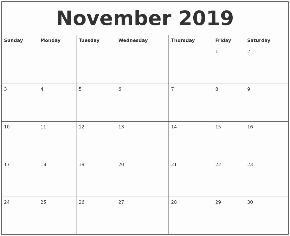 Blank Monthly Calendar Pdf Awesome November 2019 Calendar Pdf