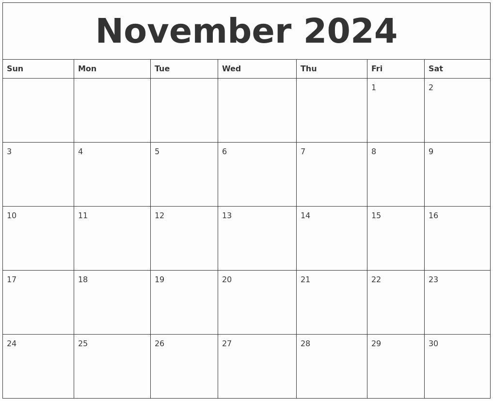 Blank Monthly Calendar Pdf Awesome November 2024 Blank Monthly Calendar Pdf