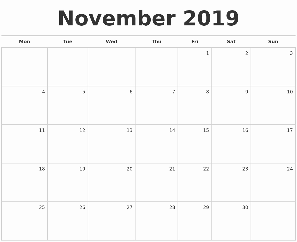 Blank Monthly Calendar Pdf Beautiful November 2019 Blank Monthly Calendar