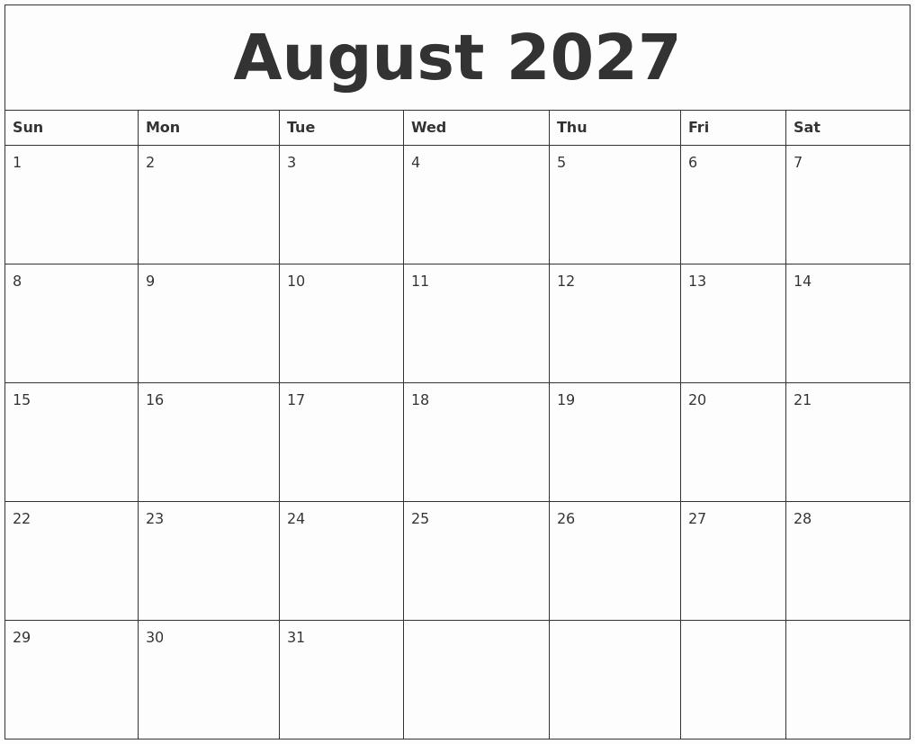 Blank Monthly Calendar Pdf Best Of August 2027 Blank Monthly Calendar Pdf