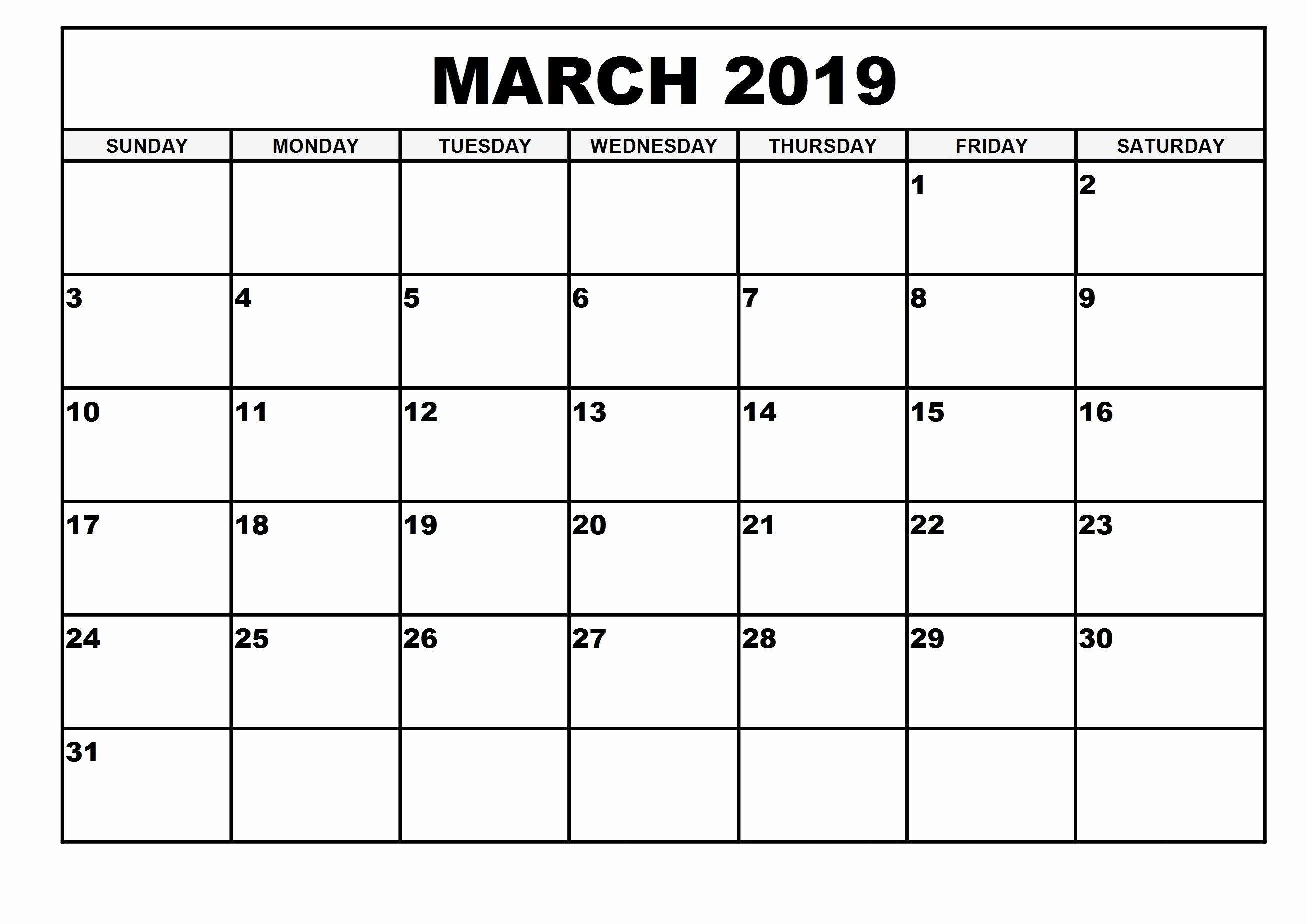 Blank Monthly Calendar Pdf Luxury 2019 Monthly Printable Calendar March 2019 Calendar March