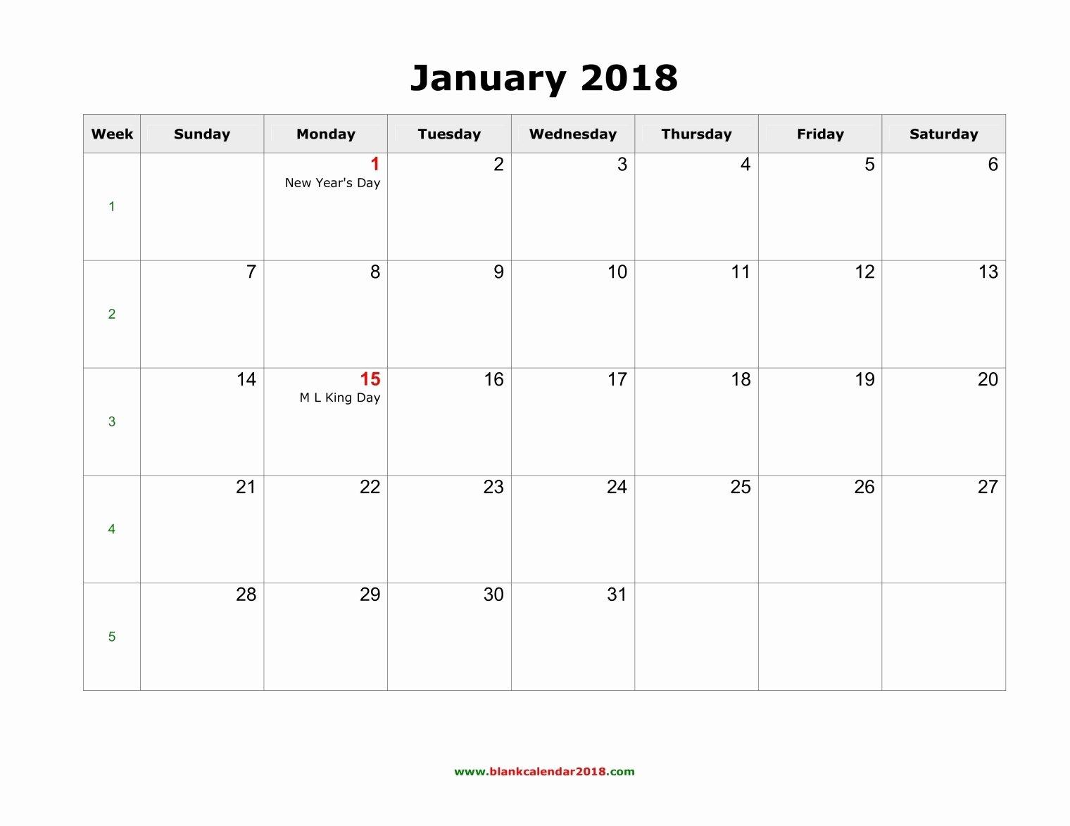 Blank Monthly Calendar Pdf Luxury Blank Monthly Holidays Calendar 2018 Landscape