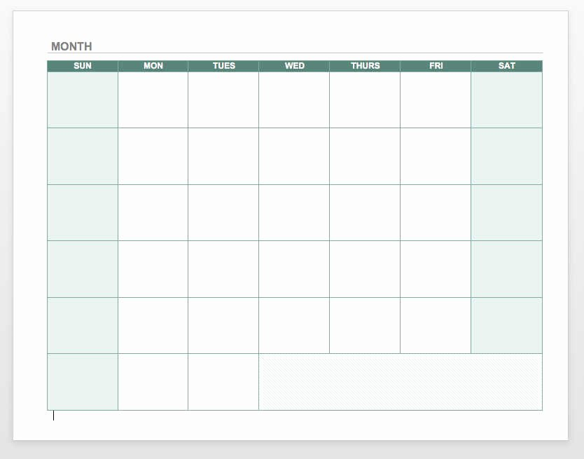 Blank Monthly Calendar Pdf Unique Free Monthly Calendar Template Word Excel Pdf