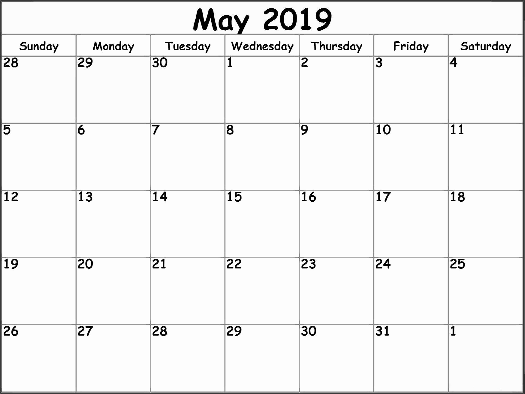 Blank Monthly Calendar Template Pdf Best Of Dashing A Blank Calendar for May 2019 • Printable Blank
