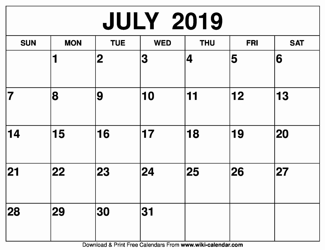 Blank Monthly Calendar Template Pdf Fresh Blank July 2019 Calendar Printable On We Heart It