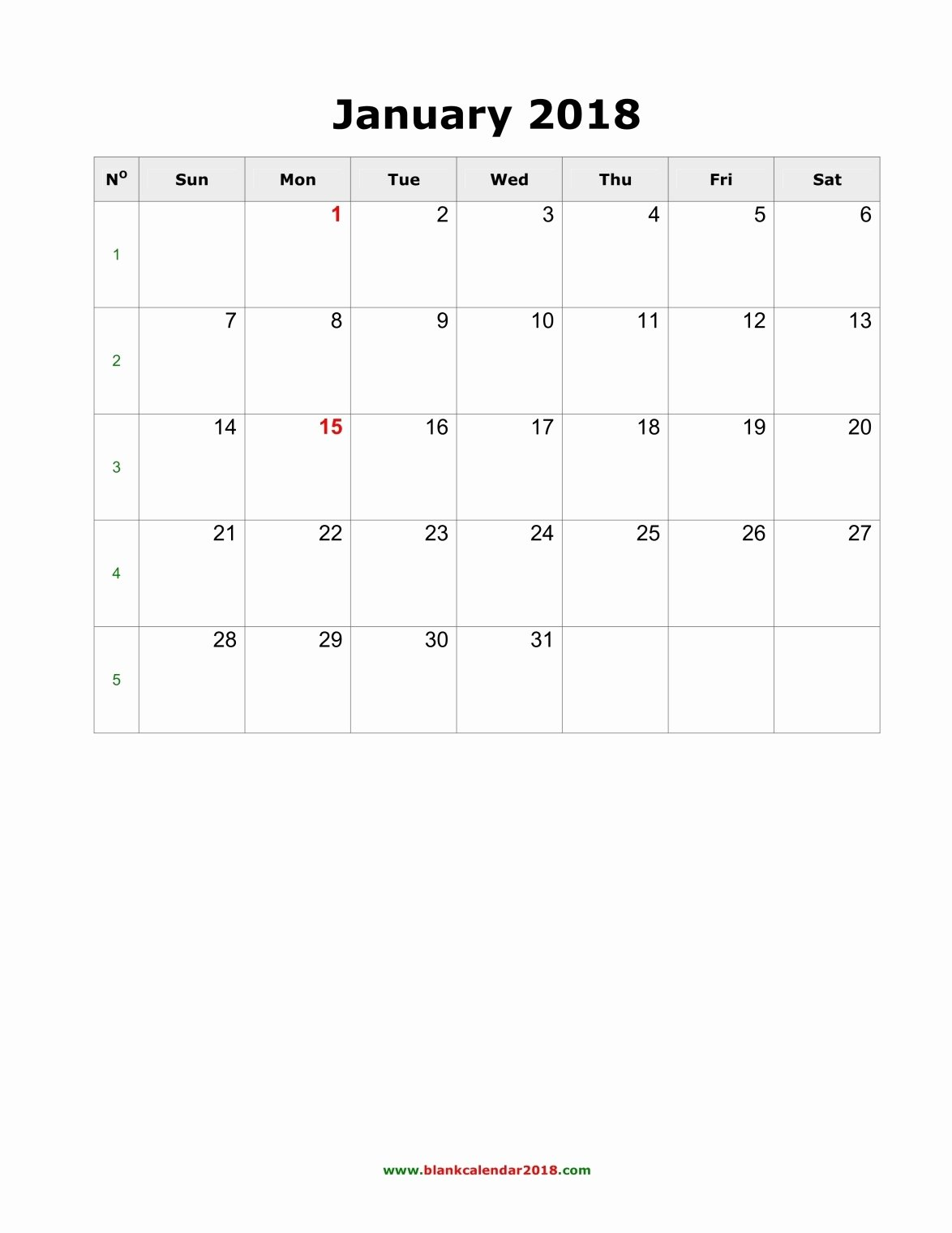 Blank Monthly Calendar Template Pdf Fresh Blank Monthly Calendar 2018 Portrait