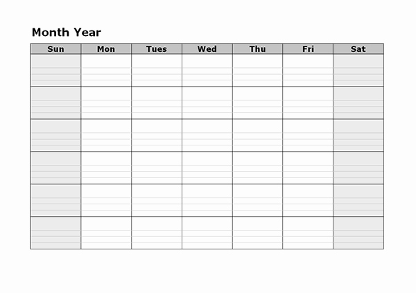 Blank Monthly Calendar Template Pdf Inspirational Monthly Blank Calendar Free Printable Templates