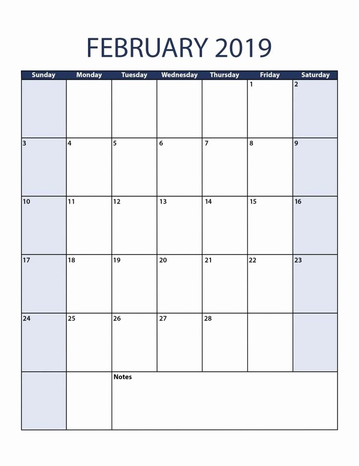 Blank Monthly Calendar Template Pdf Luxury Blank February 2019 Calendar Pdf February February2019