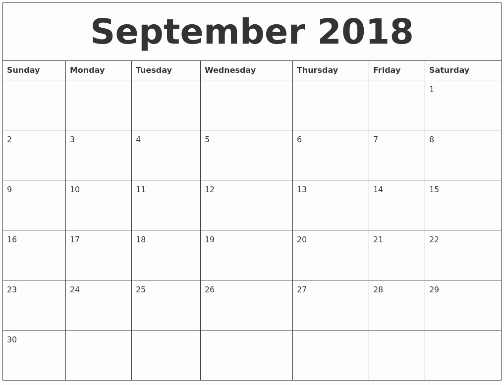 Blank Monthly Calendar Template Pdf Luxury September 2018 Blank Monthly Calendar Pdf