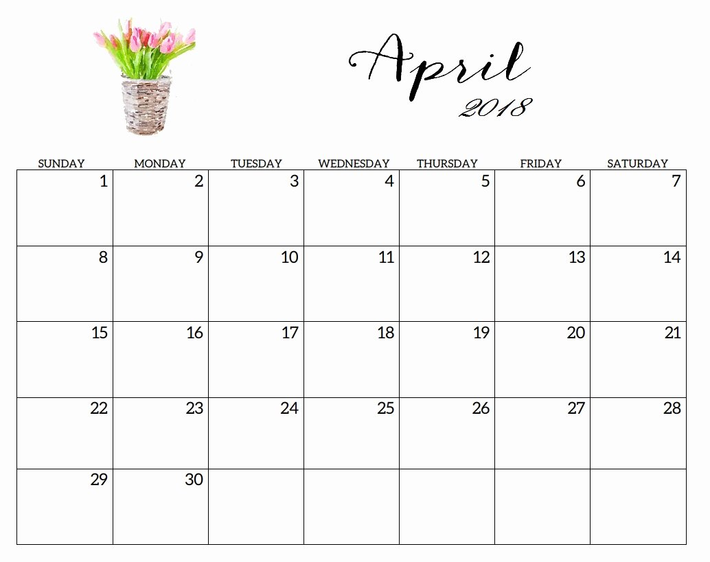 Blank Monthly Calendar Template Pdf New April 2018 Calendar Printable with Holidays Excel Pdf