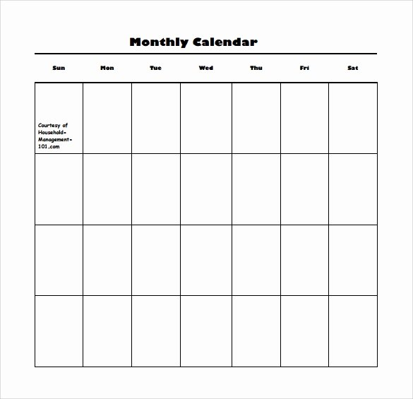 Blank Monthly Calendar Template Pdf New Free 15 Sample Blank Calendar Templates In Pdf